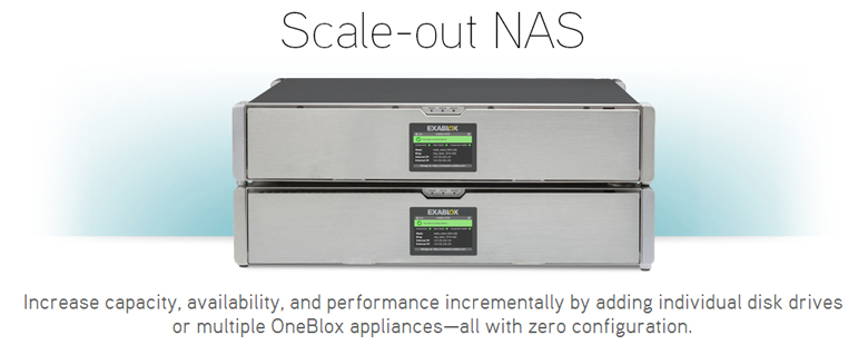 Scale-out NAS Increase capacity, availability, and performance incrementally by adding individual disk drives or multiple OneBlox appliance all with zero configuration